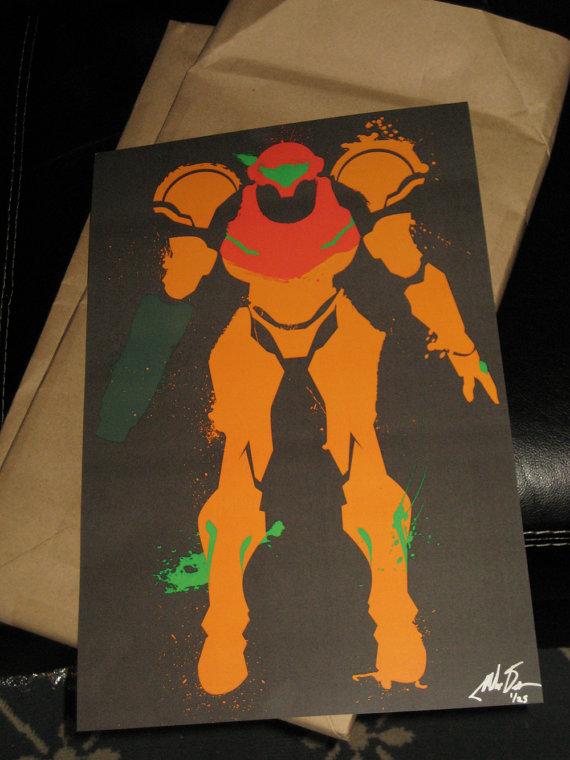 metroid splatter poster etsy.com screen print poster