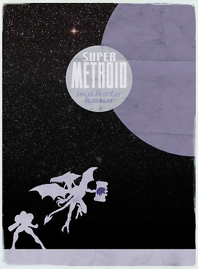 super metroid minimalist screen print poster